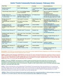GACTA Junior Community Tennis schedule jan feb 2016